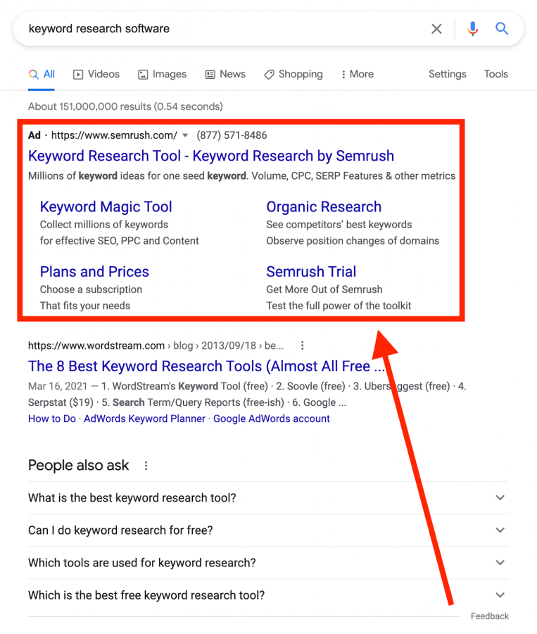 """Screenshot from Google search for the term """"keyword research tools"""""""
